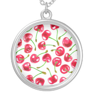 Watercolor cherries pattern silver plated necklace
