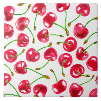Watercolor cherries pattern tile