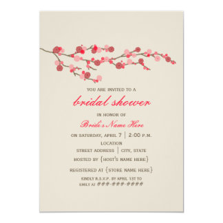 Watercolor Cherry Blossom Bridal Shower Invite