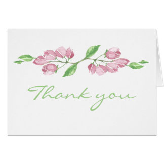 Watercolor Cherry Blossom Flower Thank you blank Card