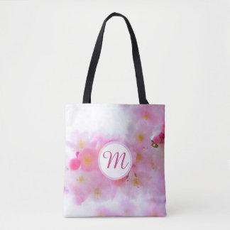 Watercolor Cherry Blossom Monogram Bag