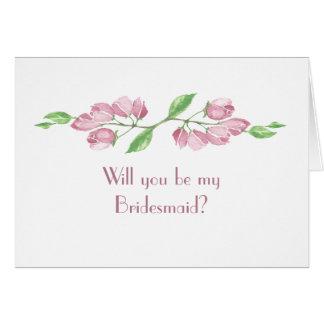 Watercolor Cherry Blossom Wedding Bridesmaid Card