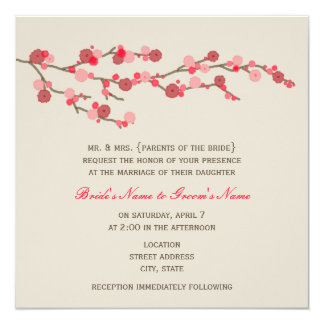 """Watercolor Cherry Blossom Wedding Invite 5.25"""" Square Invitation Card"""