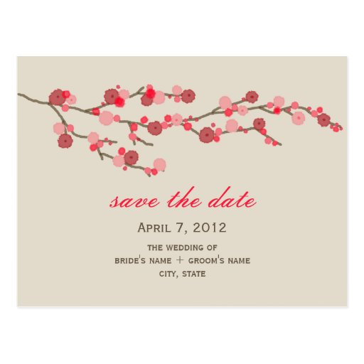 Watercolor Cherry Blossom Wedding Save The Date Post Card