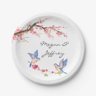 Watercolor Cherry Blossom with BlueBirds Paper Plate