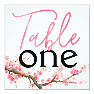 Watercolor Cherry Blossoms Table Numbers Card