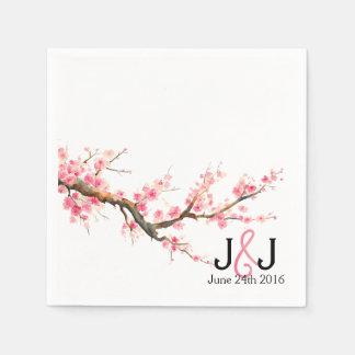 Watercolor Cherry Blossoms Wedding Custom Napkins Disposable Serviette