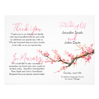 Watercolor Cherry Blossoms Wedding Program Flyer