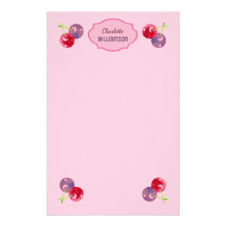 Watercolor Cherry Red and Purple Personalized Stationery