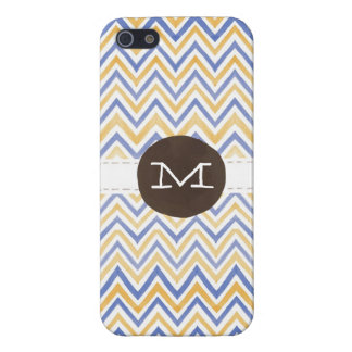 Watercolor Chevron (Navy / Mustard) Monogram iPhone 5/5S Case