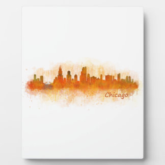 watercolor Chicago skyline cityscape v03 Plaque
