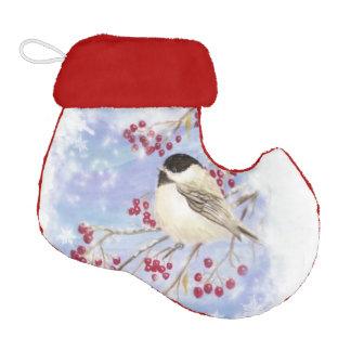 Watercolor Chickadee Bird Frosty Winter Snowflakes Elf Christmas Stocking