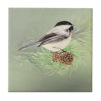 Watercolor Chickadee Bird in Pine Tree Nature art Small Square Tile