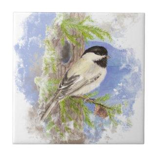 Watercolor Chickadee Bird Nature art Small Square Tile