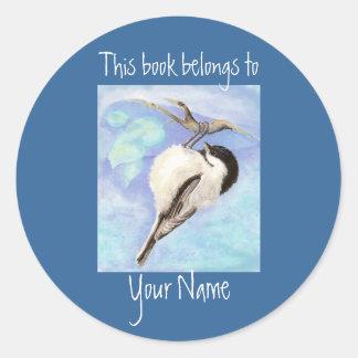 Watercolor Chickadee Book Plate Round Sticker