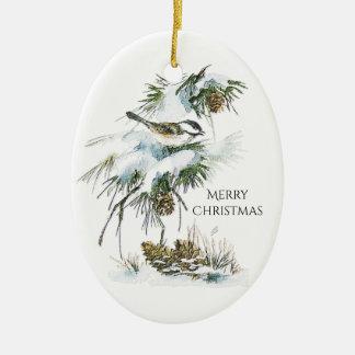 Watercolor Chickadee Ceramic Ornament