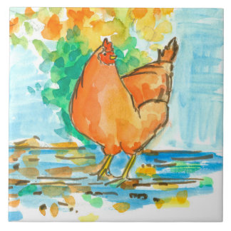 Watercolor Chicken Hen Autumn Leaves Tile