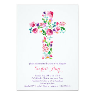 watercolor Christening invitations, pink purple Card