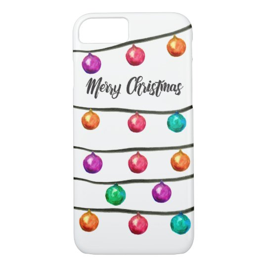 Watercolor Christmas balls on strings iPhone 8/7 Case