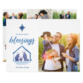 Watercolor Christmas Blessings Nativity Photo Grid Card
