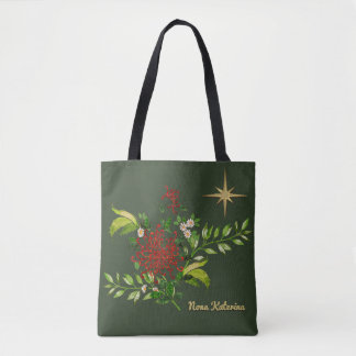 Watercolor Christmas Daisies Personalised Tote Bag