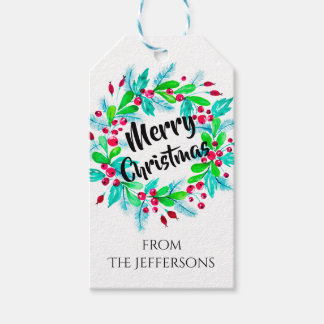 Watercolor Christmas Floral Wreath Merry Christmas Gift Tags