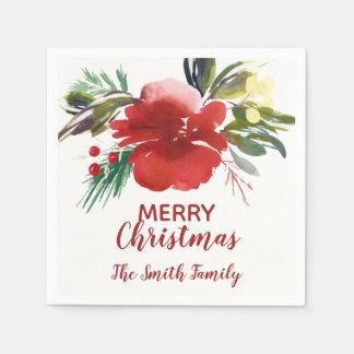 Watercolor Christmas Flower Napkin Paper Serviettes