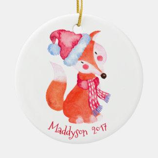 Watercolor Christmas Fox Personalized Ceramic Ornament