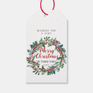 Watercolor Christmas gift tag | Evergreen wreath