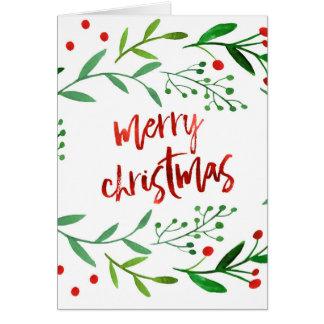Watercolor Christmas Holly Card