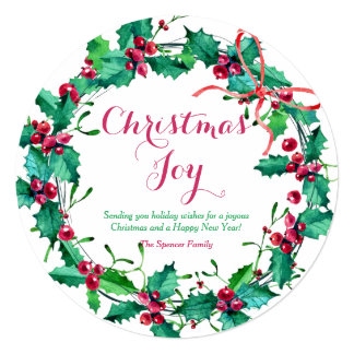 Watercolor Christmas Holly Wreath Holiday Card 13 Cm X 13 Cm Square Invitation Card