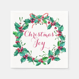 Watercolor Christmas Holly Wreath Holiday Disposable Napkins