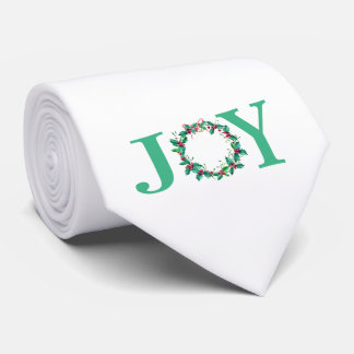 Watercolor Christmas Holly Wreath Holiday Tie