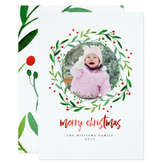 Watercolor Christmas Holly Wreath Photo Cards