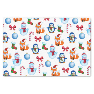 Watercolor Christmas Illustration Pattern Tissue Paper