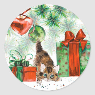 Watercolor Christmas - Kitten under tree Classic Round Sticker