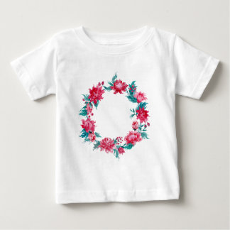 Watercolor Christmas peony wreath Baby T-Shirt