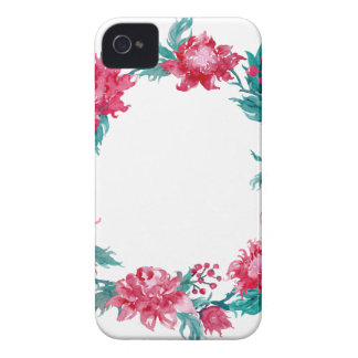 Watercolor Christmas peony wreath iPhone 4 Covers