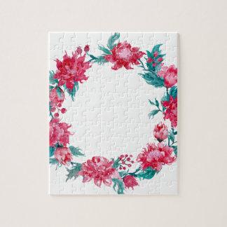 Watercolor Christmas peony wreath Jigsaw Puzzle