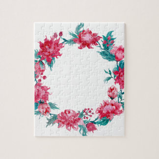 Watercolor Christmas peony wreath Puzzles