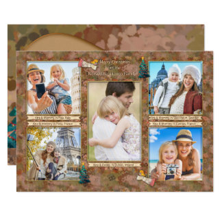 Watercolor Christmas Photo Collage Personalized Card