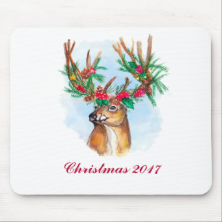 Watercolor Christmas Reindeer Mousepad