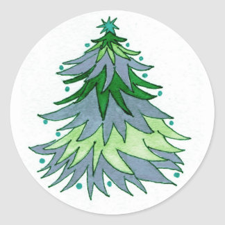 Watercolor Christmas Tree in Muted Blues and Green Sticker