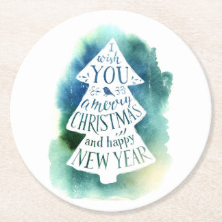 Watercolor Christmas Tree Message Round Paper Coaster