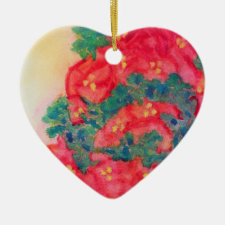 Watercolor Christmas Tree with Poinsettias Ceramic Ornament