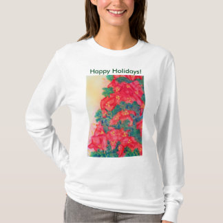 Watercolor Christmas Tree with Poinsettias T-Shirt