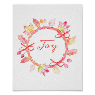 Watercolor Christmas Wreath Poster