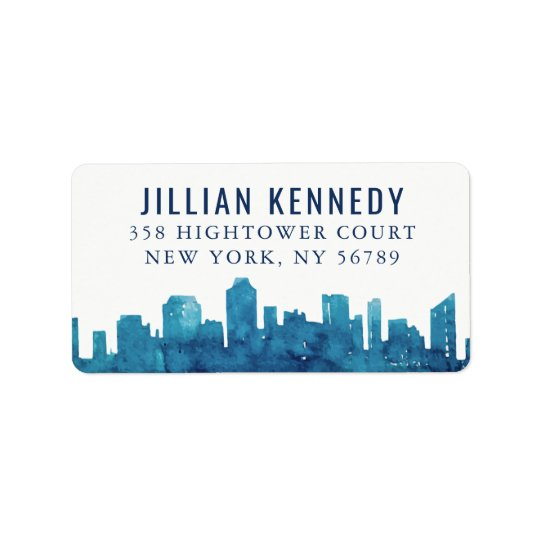 Watercolor City Skyline Address Label