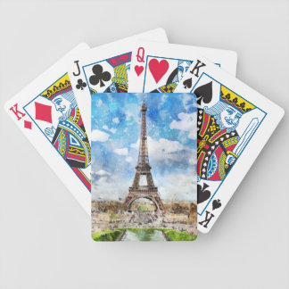 Watercolor Cityscape Paris, Eiffel Toward Bicycle Playing Cards