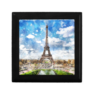 Watercolor Cityscape Paris, Eiffel Toward Gift Box